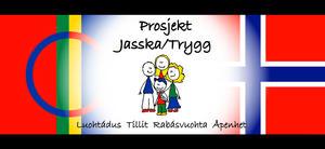 Samisk flagg og norsk flagg, illusterte mennesker på midten av bildet.