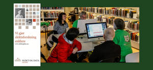 Slektsforskere som jobber på pc i biblioteket