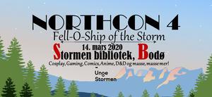 Skog og fjell i bakgrunn. Info om NorthCon 4- arrangementet i tekst.