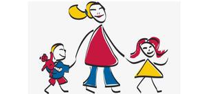 Tegnet bilde. En voksne med to barn, ett på hver side.