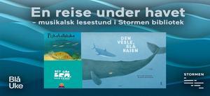 Bilde av tre barnebøker på bakgrunn av bølgende, blått hav  med hvit overskrift